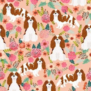 cavalier king charles spaniel dog florals fabric cute dog design - blenheim - peach