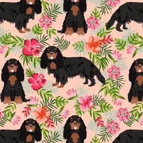 cavalier king charles spaniel dog fabric - black and tan hawaiian tropical florals - peach