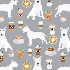 bull terrier coffee dog fabric - cute coffees and dogs design - white bull terriers - grey