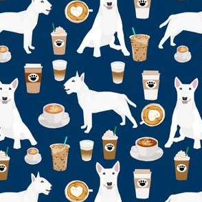bull terrier coffee dog fabric - cute coffees and dogs design - white bull terriers - navy