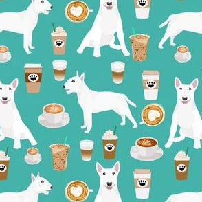 bull terrier coffee dog fabric - cute coffees and dogs design - white bull terriers - turquoise