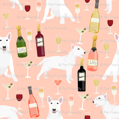 bull terrier wine dog fabric - wine and drinks and dogs design - white bull terriers - peach
