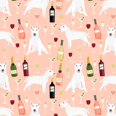 bull terrier wine dog fabric - wine and drinks and dogs design - white bull terriers - peach fabric by petfriendly on Spoonflower - custom fabric