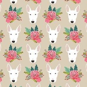 bull terrier floral dog head design - cute floral fabric - white bull terrier fabric - sand