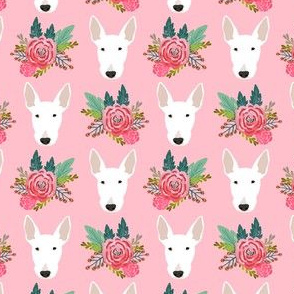 bull terrier floral dog head design - cute floral fabric - white bull terrier fabric - pink