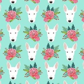 bull terrier floral dog head design - cute floral fabric - white bull terrier fabric - aqua
