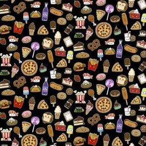 Tiny Kawaii Junk Food Small on Black