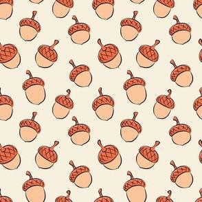 acorns - fall fabric - peach