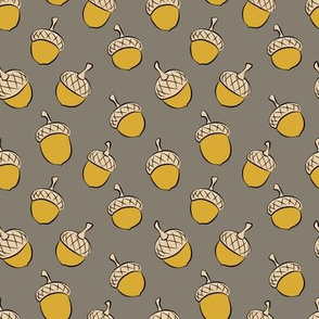 acorns - fall fabric - golden on brown