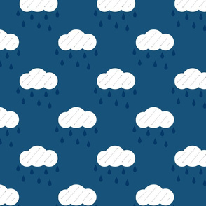 Rain Clouds Blue Upholstery Fabric