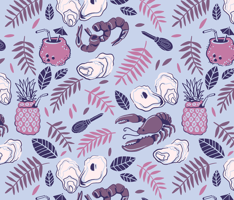 Blue Tropical Seafoodie fabric by rabeccky on Spoonflower - custom fabric