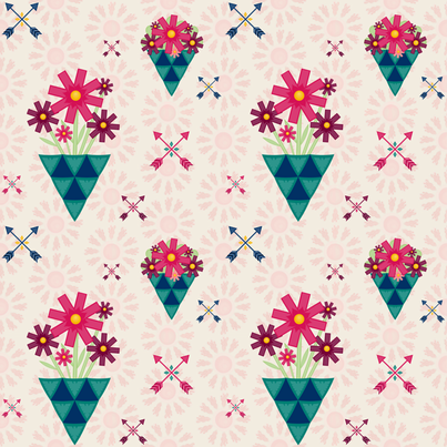 Boho_Flowers_&_Arrows fabric by lizintn on Spoonflower - custom fabric