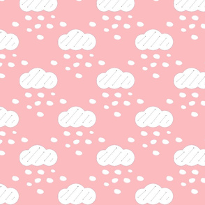 Snow Clouds Pink Upholstery Fabric