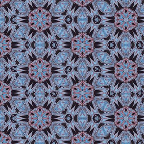 Kaleidoscope Spider Fangs Blue Upholstery Fabric