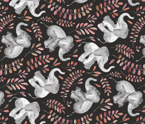 Rotated Laughing Baby Elephants with coral leaves - large print fabric by micklyn on Spoonflower - custom fabric