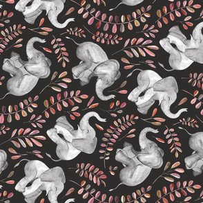 Rotated Laughing Baby Elephants with coral leaves - large print