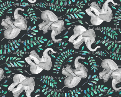 Rotated Laughing Baby Elephants with Emerald and Turquoise leaves - large print