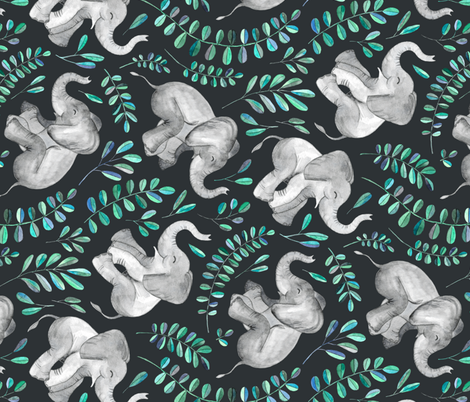 Rotated Laughing Baby Elephants with Emerald and Turquoise leaves - large print fabric by micklyn on Spoonflower - custom fabric