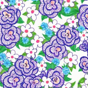 Ruffle Flowers XL - Blue