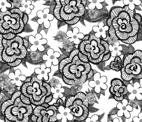Ruffle Flowers XL - Greyscale fabric by engravogirl on Spoonflower - custom fabric