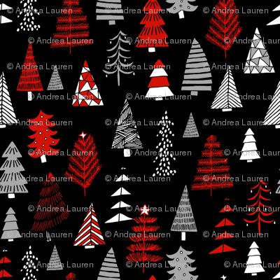 Christmas trees holiday fabric pattern black