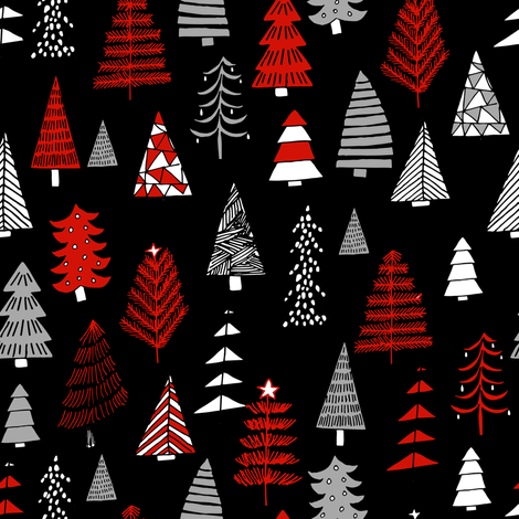 Christmas trees holiday fabric pattern black fabric by andrea_lauren on Spoonflower - custom fabric