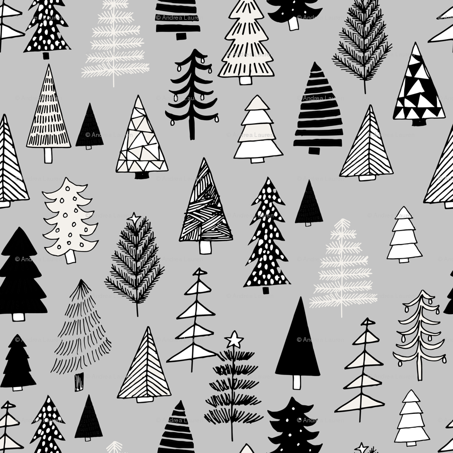 Christmas trees holiday fabric pattern grey 2 wallpaper ...