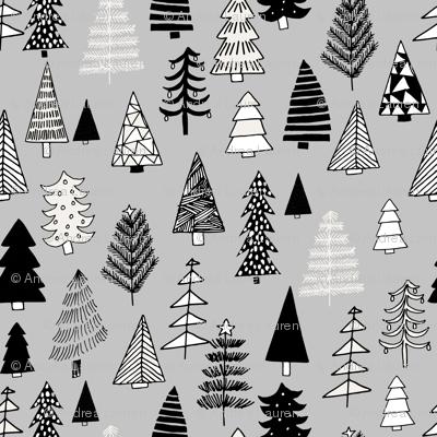 Christmas trees holiday fabric pattern grey 2
