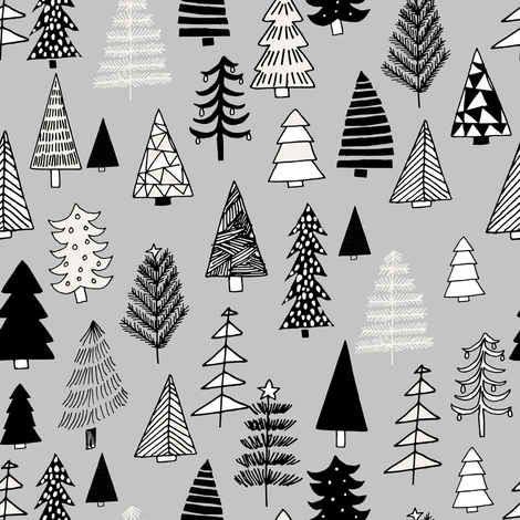Christmas trees holiday fabric pattern grey 2 fabric by andrea_lauren on Spoonflower - custom fabric