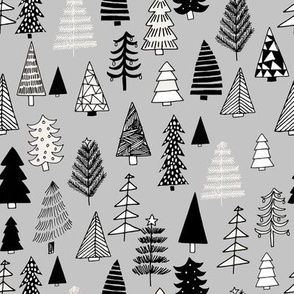 Christmas trees holiday fabric pattern grey 2