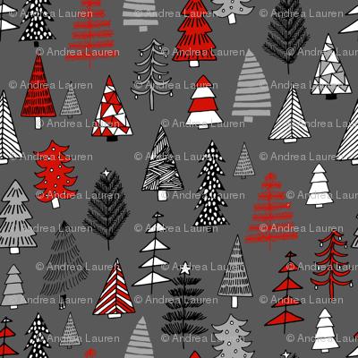 Christmas trees holiday fabric pattern grey