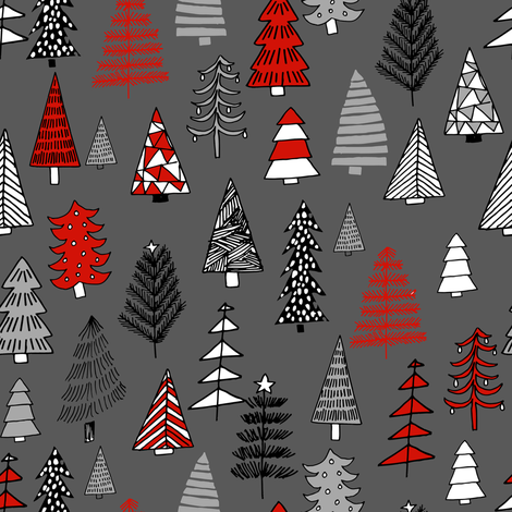 Christmas trees holiday fabric pattern grey fabric by andrea_lauren on Spoonflower - custom fabric