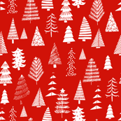Christmas trees holiday fabric pattern red white
