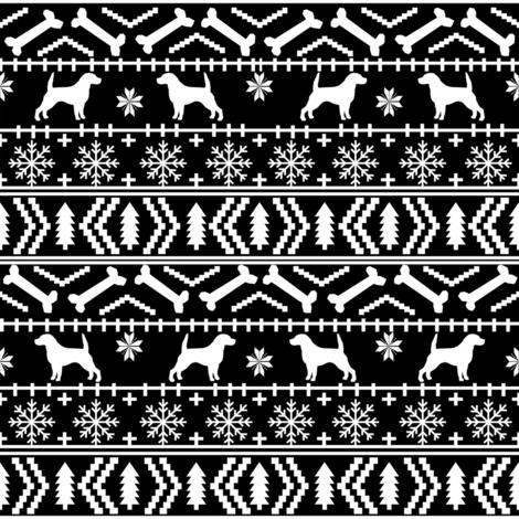 Beagle fair isle christmas sweater dog breed fabrics bw fabric by petfriendly on Spoonflower - custom fabric