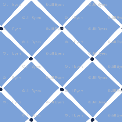 Diamonds and Dots -Cornflower indigo