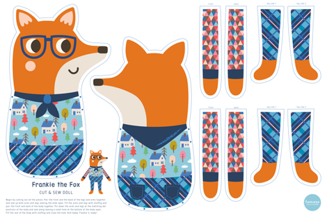 Frankie the Fox Cut & Sew Doll fabric by tamarahoutveen on Spoonflower - custom fabric