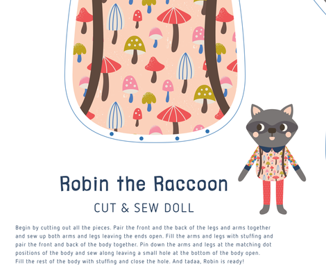Robin the Raccoon Cut & Sew Doll fabric by tamarahoutveen on Spoonflower - custom fabric
