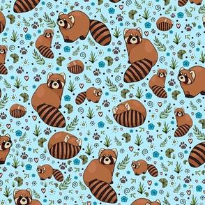 Red Pandas on Blue
