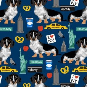 doxie piebald nyc - black and white dachshund travel dog - navy