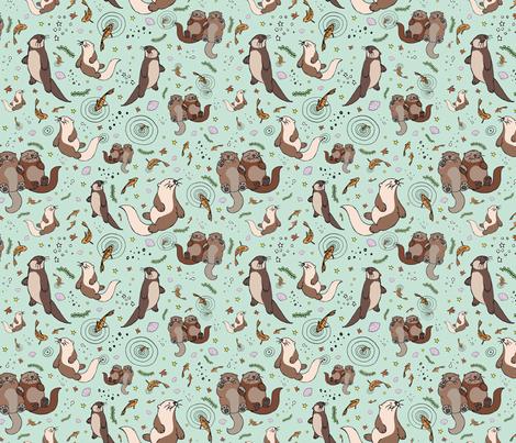 Otters on Blue fabric by nemki on Spoonflower - custom fabric
