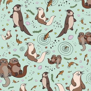 Otters on Blue