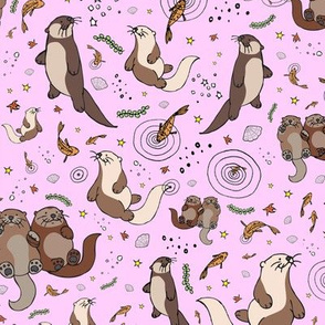 Otters on Pink