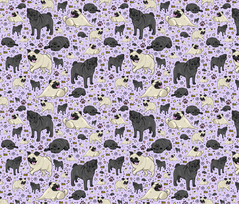 Pugs on Purple fabric by nemki on Spoonflower - custom fabric