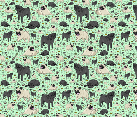 Pugs on Green fabric by nemki on Spoonflower - custom fabric