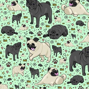 Pugs on Green