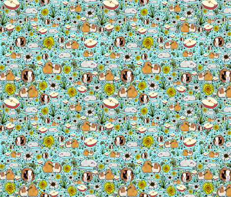 Guinea Pigs on Blue fabric by nemki on Spoonflower - custom fabric
