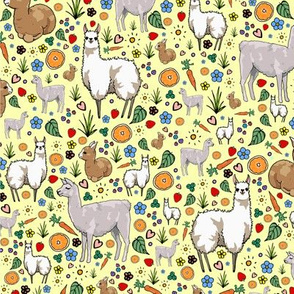 Llamas on Yellow