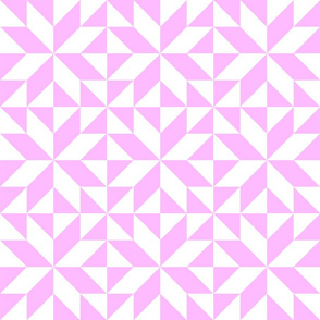 Pink and White Half Square Triangle Star