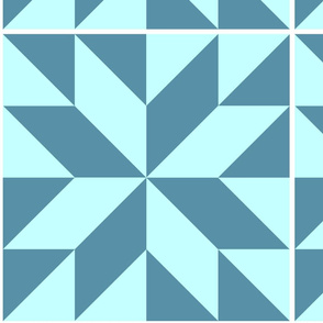 Half Square Triangles, Teals, Cheater Quilt