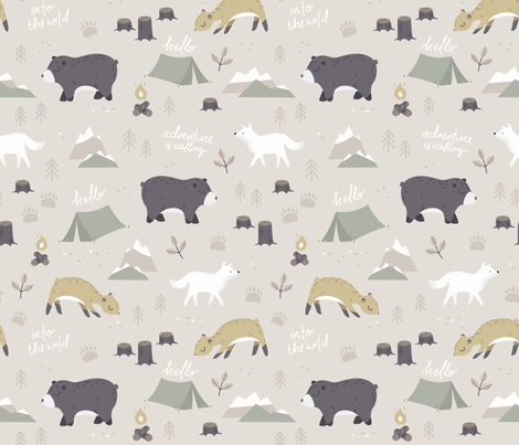 Into the wild - beige fabric by ewa_brzozowska on Spoonflower - custom fabric